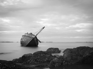 Old and broken fishing boat