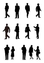シルエット人物、人物素材、人物アイコン、人物、ビジネス人物