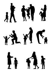 シルエット人物、家族、人物素材、人物アイコン、人物