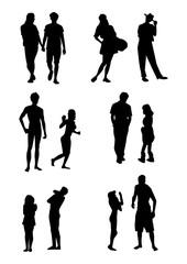 シルエット人物、若者、人物素材、人物アイコン、人物