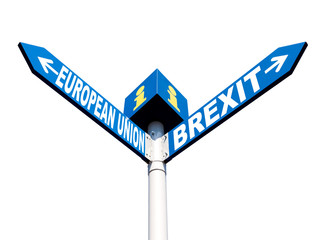 European Union and Brexit road signs