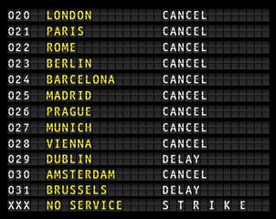 Flight information on airport information display, canceled flights, strike, vector