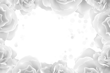 White peony background with a round label. Can be used as invitation card for wedding, birthday and other holiday.