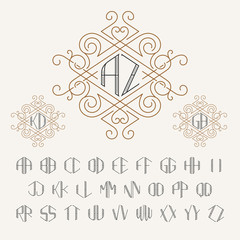 Two letters monogram template in outline style. Set of letters from A to Z. Luxury vector set of stylish elegant monograms.