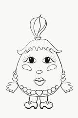 Children's Coloring funny egg girl