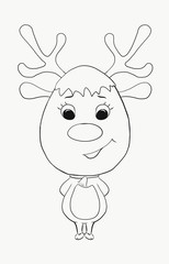 Children's coloring, funny deer with a bell