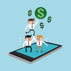 businessmen and gadget money or economy related icons image vector illustration design