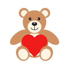 Flat icon teddy bear with heart. Vector illustration.