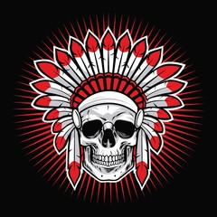 Skull of Indian Native American Warrior Vector Mascot