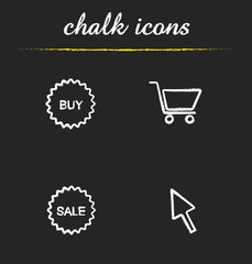 Online shopping chalk icons set