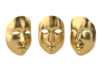 Gold happy and sad mask.3D illustration.