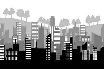 Black random city skyline Vector many layers with trees. On white background.