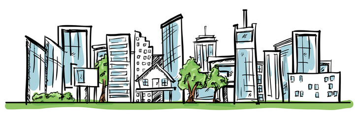 Cartoon Hand Drawing City and Trees with color. Vector on white background