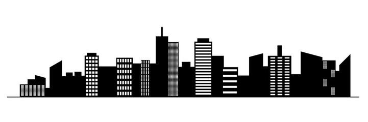 Black random city skyline Vector on white background.