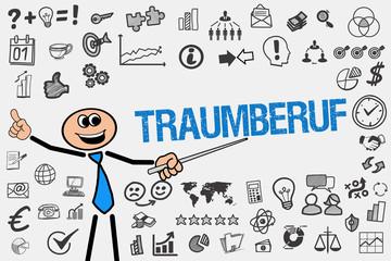 Traumberuf / Mann mit Symbole
