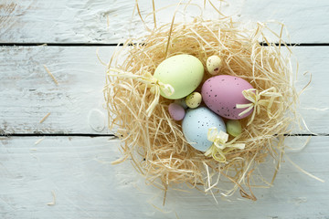 easter theme background eggs bunny nest daffodils symbol spring