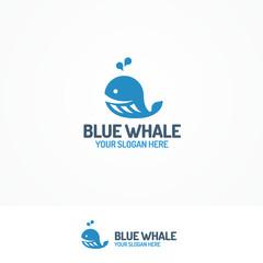 Blue whale logo set flat color style isolated on white background for use kids emblem, swim, travel company, pool, seafood market etc. Vector Illustration