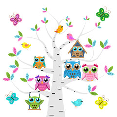 Сolorful owls and birds on the tree  with butterflies on a white background