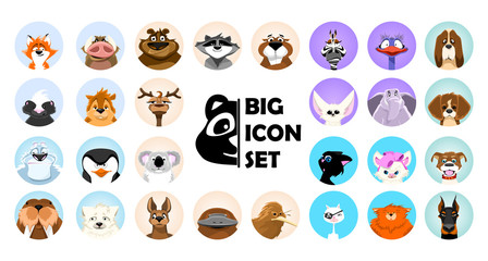 Set Emotions. Cute animals cartoon illustrator. Set of flat style vector avatars of animals.