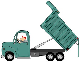 Illustration of a man driving a dump truck with its bed raised.