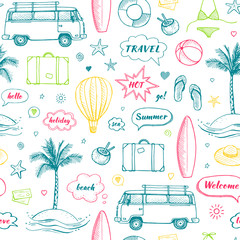 Vector seamless pattern of hand drawn travel doodle. Tourism and summer sketch with travelling elements and speech bubbles