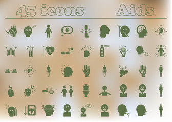 Signs and symptoms of HIV infection. various symptoms on the human. big medicine icons collection of aids disease