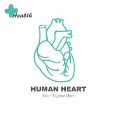 Human heart logo design vector template.