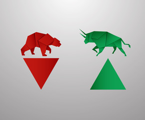 Bull and Bear paper art and red bar paper art for stock market vector and illustration