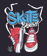 Sneakers and Skate board lettering, shirt print