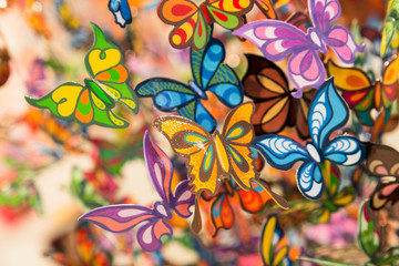Pretty painted glass butterflies for backdrop