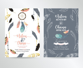 Wedding pink blue template collection for banners,Flyers,Placards with feather,dreamcatcher in boho style