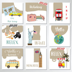 Light gray white seamless pattern with camera,big ben in london,Statue of Liberty,luggage,world,airplane,coconut tree,bus,bikini and van in summer