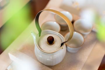 elegance japanese style tea set on table