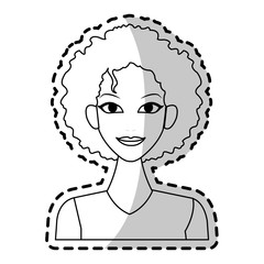 young pretty woman with curly hair icon image vector illustration design