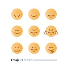 Emoji icons, emoticon symbols, face expression signs, minimalistic design