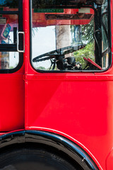 Detail of red Double Decker Bus,rivet and panel for background texture
