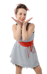smiling woman, dressed in pin-up style