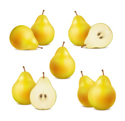 set of fresh pears on a white background