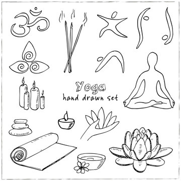 Hand drawn doodle yoga symbols, icons and asanas. Vector illustration for your design