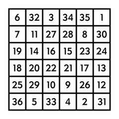 6x6 magic square of order 6 of astrological Sun with magic constant 111. The sum of numbers in any row, column, or diagonal is always one hundred eleven. Isolated black and white illustration. Vector.