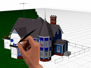 3d computer rendered illustration of a hand painting a picture of a large house