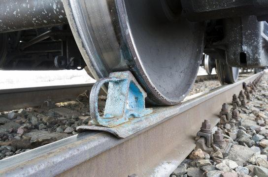 Railway Wheel Chock Close-Up