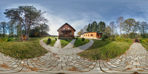 GRODNO , BELARUS - OCTOBER 9, 2014: Full 360 degree seamless panorama in equirectangular spherical projection near vacation home in forest