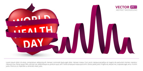 Red heart wrapped with a satin ribbon as heartbeat to the world health day. Vector illustration for your design isolated on white background.