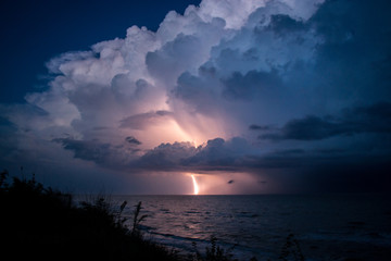Strike of lightning from big beautiful cloud after storm