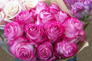 Beautiful romantic bouquet of bright pink roses