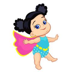 Illustration Super Hero Baby Girl multicultural. Vector illustration isolated on white background.