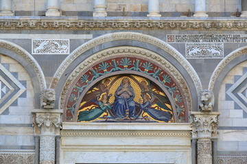 Mosaic icon with Virgin Mary and Angels. Pisa Cathedral, Italy