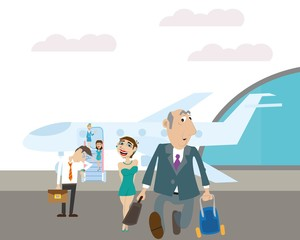 the plane landed at the airport. it left the passengers and the stewardess. vector illustration of cartoon