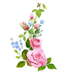 Floral composition: bouquet pink rose, blue flowers forget-me-nots, buds, green stems, leaves on white background, digital draw illustration, concept for design, vintage, vector